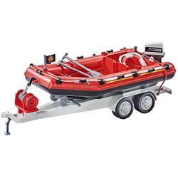 Playmobil® Konstruktions-Spielset PLAYMOBIL 9845 - Feuerwehr-Schlauchboot mit Anhäng