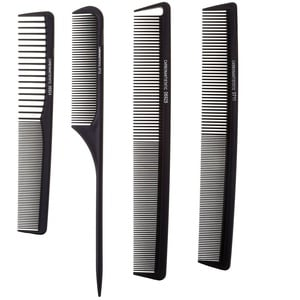 Faleto Profi Schneidekamm Set 4x Anti-Statik Friseur Kamm Haarschneidekamm Frisierkamm Taschenkamm, schwarz