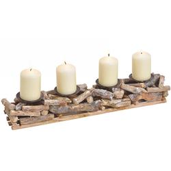 matches21 HOME & HOBBY Dekofigur Rustikales Adventsgesteck 4 Kerzenhalter (4 Stück)