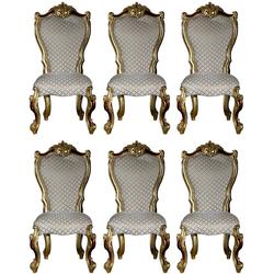 Casa Padrino Luxus Barock Esszimmer Stuhl Set Grau / Gold / Rot / Gold 58 x 57 x H. 107 cm - Küchen Stühle 6er Set im Barockstil - Barock Esszimmer Möbel