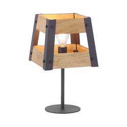 Industrielle Tischlampe schwarz mit Holz - Kiste