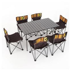 MIIGA Campingtisch (6er Set, 1 Tisch & 6 Stühle), Faltbare Tischplatte und Stühle Tisch: 95 x 55 x 53 cm Stuhl: ca. 35 x 37 x 58 cm