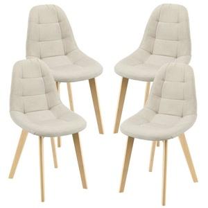 en.casa Esszimmerstuhl, Kopparberg Polsterstühle 4er Set Küchenstuhl Stoffbezug Beige beige