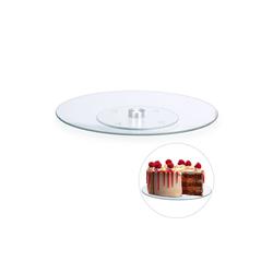 relaxdays Tortenplatte Drehbare Tortenplatte Glas, Glas