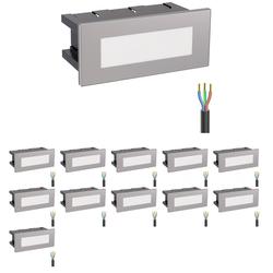 LED Treppen-Licht Treppenbeleuchtung, eckig, 12,3x5,3cm, 230V, weiß, 12 Stk.
