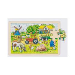 goki Puzzle Holzpuzzle 24 Teile Müllers Farm, Puzzleteile