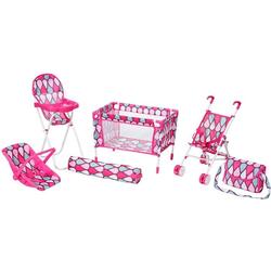 Knorrtoys® Puppen Reiseset Puppenreiseset pink, (Set, 6-tlg)