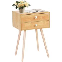 COSTWAY Nachttisch Nachtkommode Beistelltisch Telefontisch beige 30 cm x 60.5 cm x 40 cm