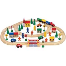 Mentari Spielzeug-Eisenbahn 63 teiliges Spielset für Kinder - Holzzug mit Schienen und Zubehör, (63-tlg)