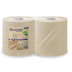 6 Rollen Eco Natural 270 Lucart Jumbo Toilettenpapier 2-lagig aus recycelten ...