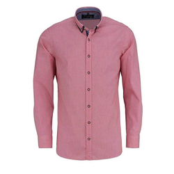 MARVELIS Trachtenhemd Freizeithemd - Trachten - Karo - Doppelkragen rot XL