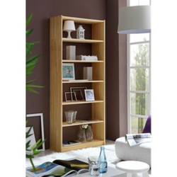 TiCAA Standregal Bücherregal Kiefer Natur H214 cm