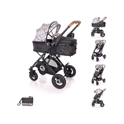 Lorelli Kombi-Kinderwagen Kinderwagen Sena, 2 in 1 Sportsitz Babywanne Gummireifen, Wickeltasche schwarz