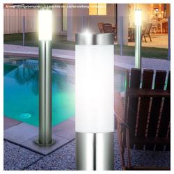 etc-shop LED Außen-Stehlampe, LED 10 Watt Außenleuchte Beleuchtung Stehlampe E27 Standleuchte Edelstahl IP44