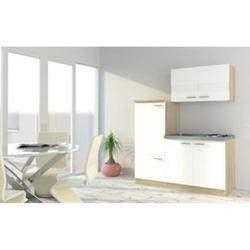 Respekta Economy Küchenzeile KB160ESW 160 cm, Weiß mit Pantryauflage