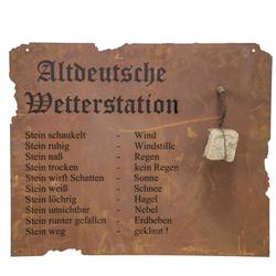 H.G-DEKO Altdeutsche Wetterstation zum Hängen Metall mit Edelrost, 80xH70cm