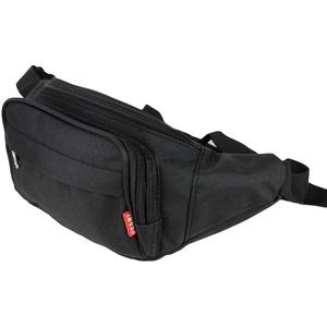 Schompi Bauchtasche Damen Herren - Unisex Hüfttasche Gürteltasche 3 Fächer mit Reißverschluss Wasserdicht Farbauswahl, Farbe:Schwarz