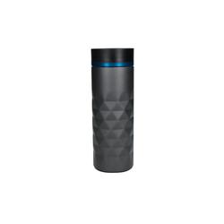 elasto Thermobecher Diamond (1-tlg), 450ml Kaffeebecher To Go aus Edelstahl 100% auslaufsicher & doppelwandig mit Push-Button blau