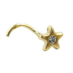 unbespielt Nasenpiercing Piercing Gold Stern mit Spirale Nasenpiercing mit Zirkonia Unisex aus 585 Gelbgold Gold 14 kt 4 mm inklusive Schmuckbox, Goldschmuck für Damen