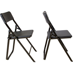 Klappstuhl 2er Set Stühle, schwarz Rattan-Optik, Campingstuhl