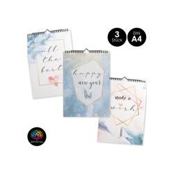 OfficeTree Kalender zum Selbstbasteln Bastelkalender Set im Aquarell Design, Kalender DIY in DIN A4 - 3 Stück