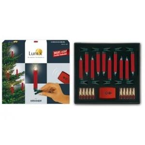Krinner Lumix Deluxe Basis-Set rot 74146 10x rote, kabellose LED-Christbaumkerzen mit Funk-Fernbedienung und Batterien