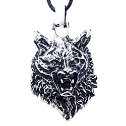 Kiss of Leather Kettenanhänger Wolfskopf Ketten Anhänger aus Edelstahl Wolf Kopf