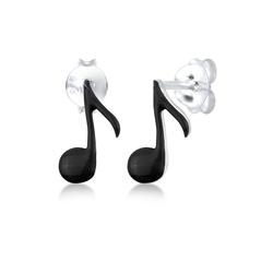Elli Paar Ohrstecker Note Musiker Musik Musiknote Emaille Silber, Note schwarz