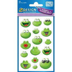 Emoji & Emoticon-Sticker Motiv Frosch grün 2 Blatt 32 Sticker