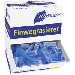 Meditrade Einwegrasierer, einschneidig, Für eine sanfte, sichere und hautschonende Rasur, 1 Karton = 10 x 100 Stück = 1000 Stück, blau, unsteril