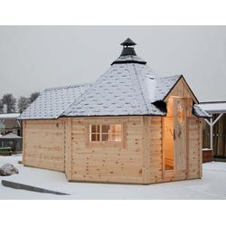 Wolff Finnhaus Grillkota 9 de luxe mit Saunaanbau, ohne Imprägnierung