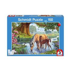 Schmidt Spiele Puzzle Puzzle Pferde am Bach, 150 Teile, Puzzleteile