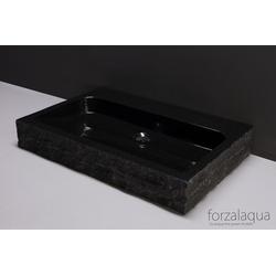 Forzalaqua Waschtisch Palermo aus Naturstein (Granit), 80,5 x 51,5 x 9 cm, rechteckig, 2XØ36MM