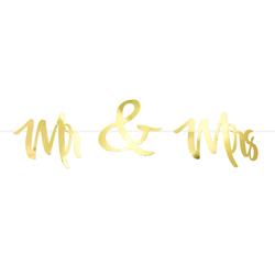 Mr & Mrs Girlande Banner Hochzeit Feier Dekoration Hochzeitsdeko Hochzeitsgirlande - gold