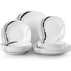 VEWEET Geschirr-Set FIONAGLAS (18-tlg), Opalglas