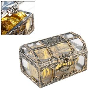 Schatztruhe Vintage Schatzkiste Transparent Schmuckschatulle Geschenkbox Spardose Ringetui für Hochzeit Mädchen Damen Frauen 8 * 10,5 * 6,5 cm