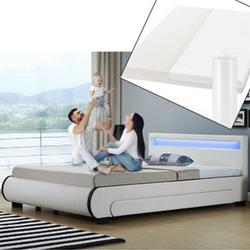 ArtLife Polsterbett Bilbao 140 x 200 cm weiß mit Kaltschaummatratze Matratze Bett Einzelbett
