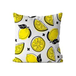 Kissenbezug, VOID (1 Stück), Sommer Zitronen Kissenbezug Zitrone Südfrüchte Saft Limo Limonade Obst Früchte 50 cm x 50 cm