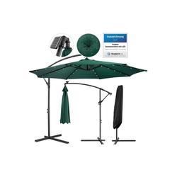 Arebos Sonnenschirm Luxus Ampelschirm Gartenschirm mit LED Beleuchtung Ø3m Wasserabweisend, Set, ohne Wegeplatten grün