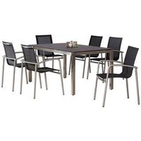BEST Freizeitmöbel Khartum/Marbella Set 7-tlg.  Tisch 210 x 90 cm schwarz