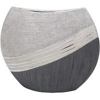 Dekohelden24 Edle Moderne Deko Designer Keramik Vase in Silber-grau, 25 cm