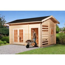 WEKA Gartenhaus 150, 28 mm, mit Holzlager und Geräteraum, ohne Imprägnierung