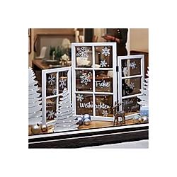 Deko-Objekt Fenster-Paravent X-Mas Weiß