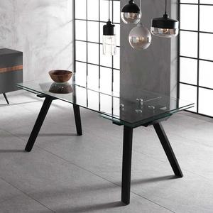 Glas Esstisch in Schwarz ausziehbar