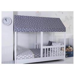 Delaa Möbel Kinderbett PANDA (Kinderbett), Betthimmel, Ausfallschutz, Schutzgitter an allen Seiten weiß
