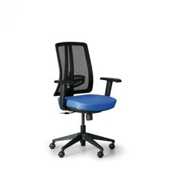 Bürostuhl human, schwarz/blau, kunststoffkreuz