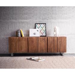 DELIFE Sideboard Live-Edge 220 cm Akazie Braun massiv 6 Türen, Sideboards, Baumkantenmöbel, Massivholzmöbel, Massivholz