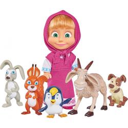 Mascha Simba Puppe Set von Mascha und dem Bären + 5 kleine Tiere
