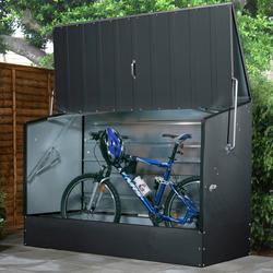 Trimetals Fahrradbox, BxTxH: 196x89x133 cm grau Fahrradunterstände Garten Balkon Fahrradbox