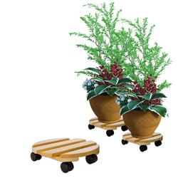 BigDean Blumentopfuntersetzer Pflanzenroller rund Buchenholz massives Holz 30 cm bis 120 Kg Rolluntersetzer, 1-tlg.